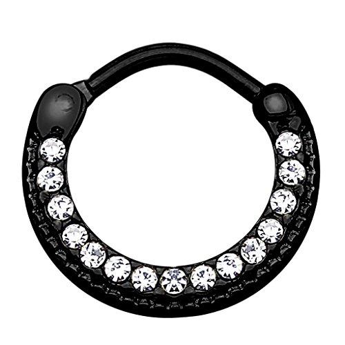 Piercingfaktor Universal Piercing Septum Ring Clicker Schild gebogen mit Kristallen Lippen Nasen Lippe Ohr Tragus Helix Intim Augenbraue Horseshoe Schwarz