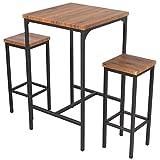 YELLOO Mod. VIAREGGIO Set Bar Table et 2 tabourets Brun Table Carrée Haute 110 cm