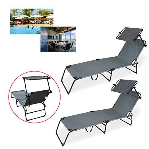 HG® sedia a sdraio per il tempo libero lettino 2x sdraio per prendere il sole spiaggia per prendere il sole 189 centimetri Grey