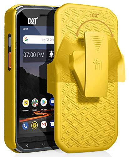 CAT S48c Hülle mit Clip, nakedphone Kickstand Cover mit [drehbar/ratsche] Gürtel Hüftholster Halter Combo für Caterpillar CAT S48c Handy (Verizon, Sprint, entsperrt), gelb - Von Handys Entsperrt Verizon