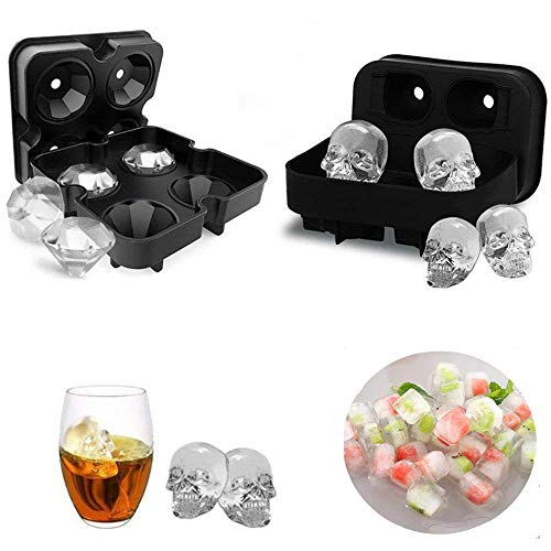 3D Skull Flexible Silicone Ice Cube Mold Tray and 3D Diamond Ice Maker-Perfect Halloween and Maker in Shapes for Whiskey Ice-Black - Maker 3d-kunst