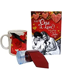 Love Gift For Men & Boys - Love Greeting Card, Mens Tie With Gift Box & Love Coffee Mug