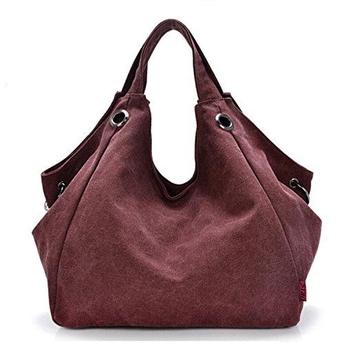 Tiny Chou, da donna, in tela, stile Vintage, stile semplice borsa Hobo Tote-Borsa da spalla, tracolla Rosso (Claret-red)