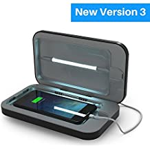 PhoneSoap 3 Désinfectant UV pour téléphone portable et double chargeur de téléphone cellulaire universel | Désinfectant UV breveté et éprouvé cliniquement | Nettoyage et charge pour tous les téléphones - Noir