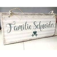 handmade /Türschild mit Namen / Personalisiertes Tür-Schild I Holz-Schild mit Familien-Namen I