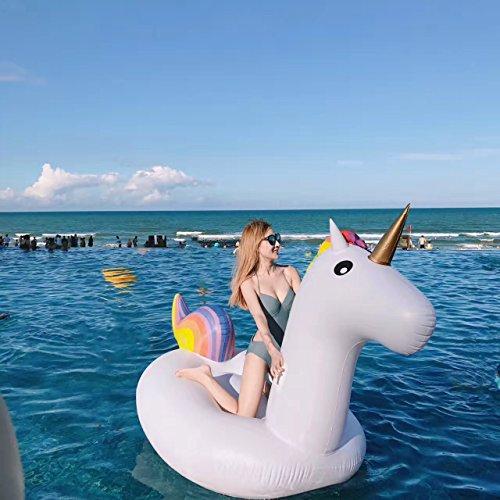Aufblasbare Einhorn Pool Schwimmen,Pool Floß, Float Spielzeug Aufblasbare Spielzeug Mit Schnellen Ventilen PVC Aufblasbarer Schwebebett(275*140*120cm)
