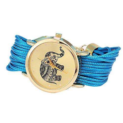 Las niñas elefante patrón cuerda trenzada pulsera cuarzo dial muñeca reloj luz azul