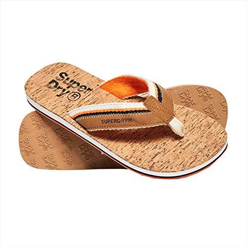Superdry Herren Roller Flip Flop Zehentrenner Mehrfarbig (Tan/Orange/Linear Cork W2u) 39-41 EU -