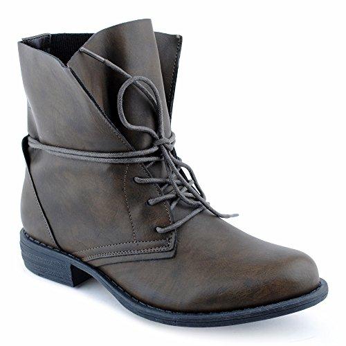 Damen Stiefeletten Stiefel Blockabsatz Schnür Biker Boots Freizeit Schuhe  Grün/ungefüttert