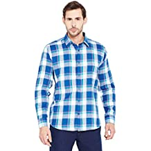 HANCOCK Blue Checked Pure Cotton Slim Fit Casual Shirt -43549blue