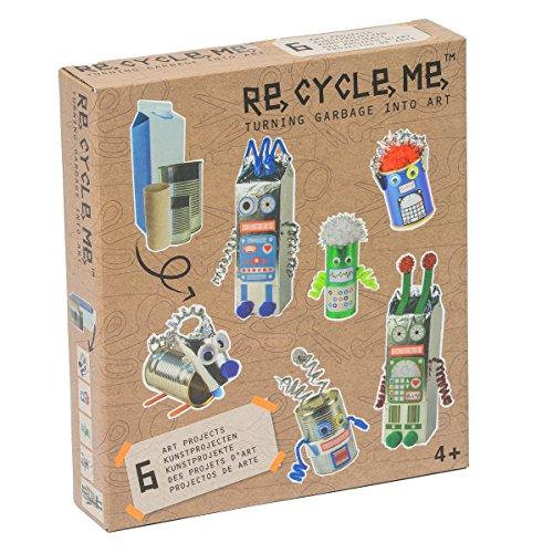 Re Cycle Me DEFG1110 Recycling Bastelspaß Robotor, Bastelset für 6 Modelle, Kreativset für Kinder ab 4 Jahre, Set zum Basteln mit Haushaltsmaterialien, Recycle Mich, Bastelmix