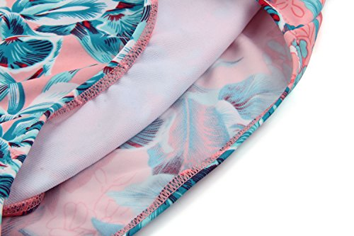 Angerella Damen Vintage Retro Floral Print Ruffles Tankini Oben Schlanke Taille Bikini Set - 6