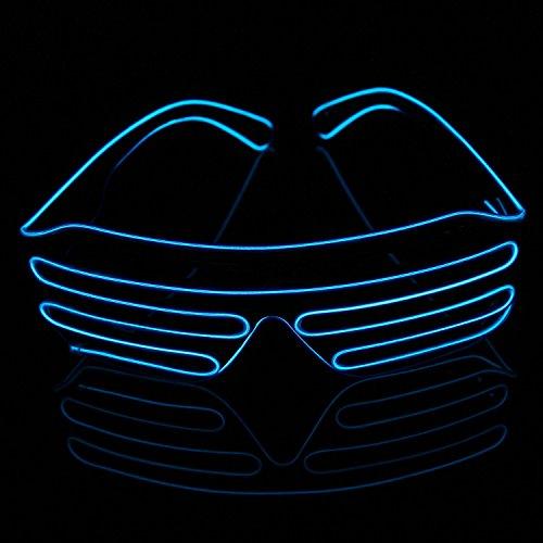 Xcellent Global El.Draht Brille Neon LED Leuchten Schwarz Shutter Rahmen Party Lichter Dekorationen für Halloween Kostüme Weihnachten, Blau (Männer Kreative Halloween Kostüme)