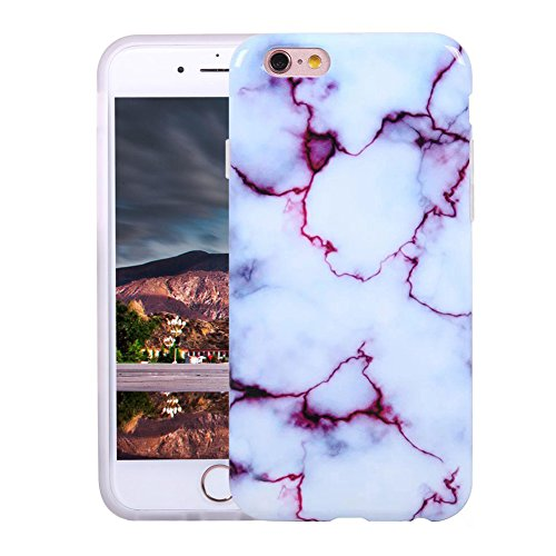 VMAE iPhone 6s Plus Case Ultral Slim Anti-Scratch Soft TPU Cover Print Crystal Stone Marble Pattern Hard Shockproof Case For iPhone 6 Plus / iPhone 6s Plus 5.5inch - Black&Gold white&purple