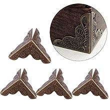 Haofy 12 pcs Coin Protecteurs Décoratifs pour Boîte à Bijoux en Métal Cadeau Cas, Bord de Bord de Sécurité Pare-Bords Bord de Bord Garde(Bronze)