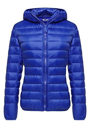 Wantdo Women's Hooded Packable Ultra Light Weight Short Down Jacket Outdoor Coat Sapphire Blue