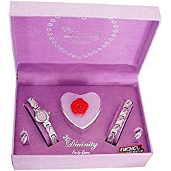 Divinity Ladies Watch & Bracelet Jewellery Lilac Heart I Love You Xmas Gift Set