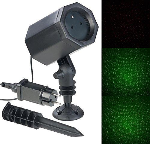 Lunartec Laser-Lichtprojektor: Laser-Projektor mit 3 Sternen-Effekten, innen & außen, 2,5 Watt, IP44 (Laser-Projektorlampe)