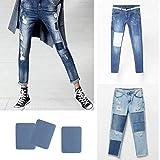 Jeerui 5 Pcs Reparaturflicken Zum Aufbügeln Denim Baumwolle Patches für Jeans Hellblau