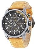 Timberland 14816JLU/02 -Reloj de Cuarzo para Hombre con Esfera analógica Negra y Correa de Piel Amarilla
