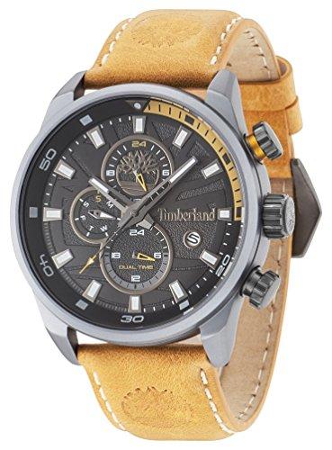 Timberland  Montres à quartz avec affichage analogique à cadran noir et bracelet en cuir  - Noir/ jaune_Homme - 14816JLU/02