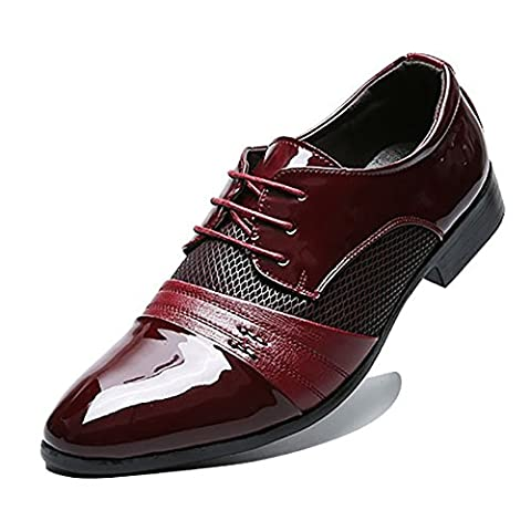 Blivener Men's Casual Pointed Toe Oxford Lace Up Business Shoes WINE RED UK9/EU44