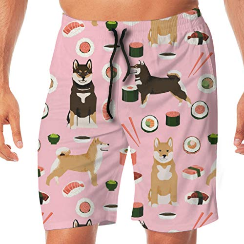 Shiba Inu Dog Sushi and Dogs PrintPink Surfing Pocket Elastic Waist Men's Beach Pants Shorts Beach Shorts Swim Trunks Medium (Russell Shorts Boys)
