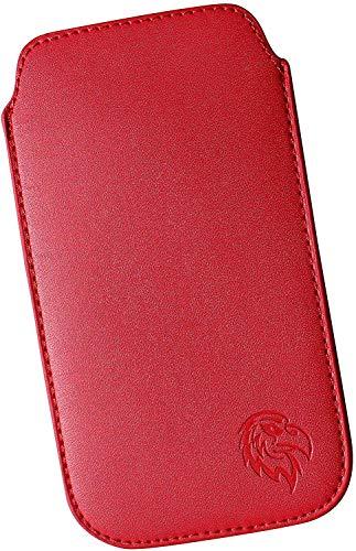 Schutz-Tasche passend fuer Samsung Galaxy S2, S3 und S4, Pull-tab Handy-Huelle herausziehbar, Etui genaeht mit Rausziehband, duenne Tasche mit exklusivem Motiv Adler ML Rot
