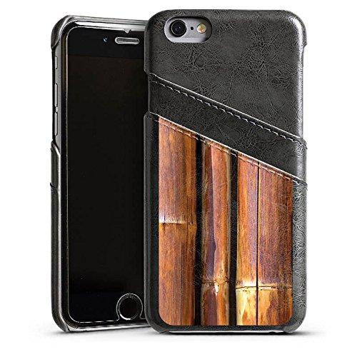 Apple iPhone 4 Housse Étui Silicone Coque Protection Bambou Tuyau en bambou Marron Étui en cuir gris