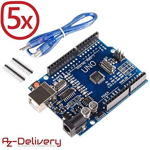 AZDelivery ⭐⭐⭐⭐⭐ 5 x Scheda Uno R3 con Cavo USB, Compatibile al 100% con Arduino Uno R3 e con eBook Gratuito!