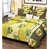 Home Candy 144 TC Cotton Double Bedsheet with 2 Pillow Covers - Printed, Yellow