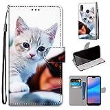 Miagon Flip PU Leder Schutzhülle für Huawei P Smart 2019,Bunt Muster Hülle Brieftasche Case Cover Ständer mit Kartenfächer Trageschlaufe,Süß Katze