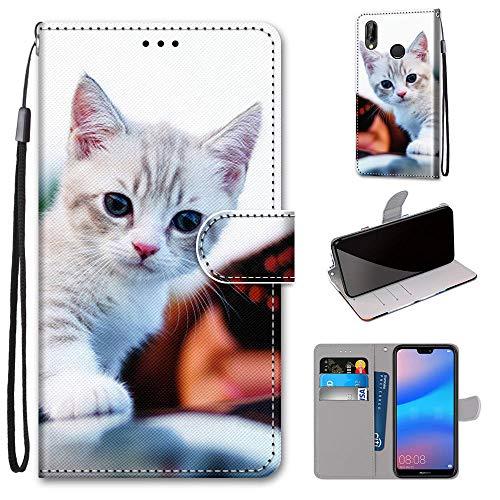 Miagon Flip PU Leder Schutzhülle für Huawei Y6 2019,Bunt Muster Hülle Brieftasche Case Cover Ständer mit Kartenfächer Trageschlaufe,Süß Katze