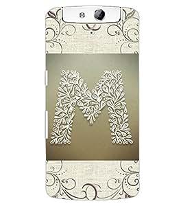 "ColourCraft Alphabet ""M"" Design Back Case Cover for OPPO N1"