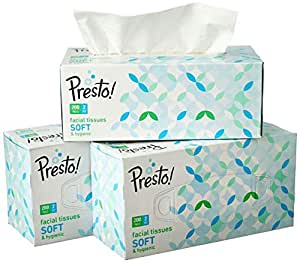 Amazon Brand - Presto! 2 Ply Facial Tissue Carton Box - 200 Pulls (Pack of 3)