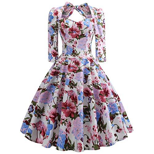 Damen elegant 50er Jahre Petticoat Kleider Gepunkte Rockabilly Kleider Cocktailkleider Elegant Kleider Frauen Kleider Dreiviertel Ärmel Partykleid Abendkleider