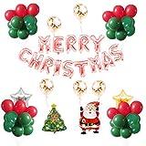 Tumao 61 Stück Luftballons set, Merry Christmas, Party Dekoration Ballons, Latex ballons, Weihnachtsballons, Weihnachtsatmosphäre Szene Layout by , Banner, Foto-Requisiten,Weihnachten Santa Ballon Set Festival Party.