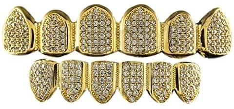 24K vergoldet Iced Out Grillz mit Micropave CZ Diamanten + 2 EXTRA Molding Bars (Nicht Grund Halloween Kostüme)