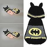 Sunfire Batman Umhang Kleidung Neugeborene Crochet Knit Kostüm Fotografie Prop Outfits schwarz