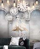 Keshj Fototapete Europäische Nostalgische Kreative Uhr Wandbild Wohnzimmer Schlafzimmer Dekor Tapete-350Cmx245Cm