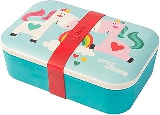BIOZOYG Kinder Bento Lunchbox aus Bambus I Brotdose mit extra Snack Box I Mädchen und Junge Motiv Brotbox – für Kindergarten I Lunch Set To Go BPA frei und 100% lebensmittelecht