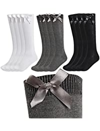 9b3741634 12 Pairs Kids Girls Plain Knee High School Cotton Rich Socks With Bow Ribbon