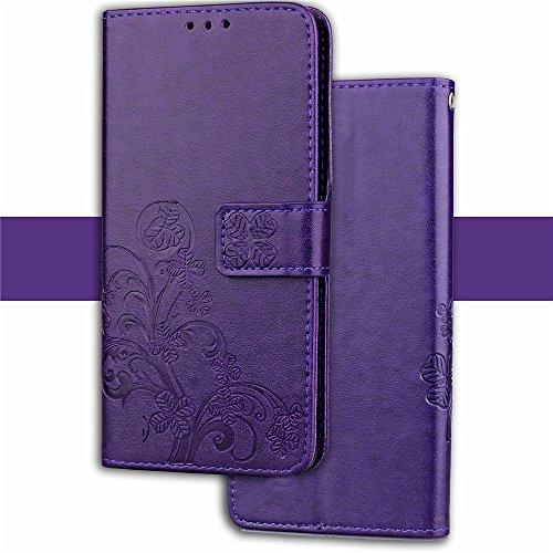 Funda Xiaomi Mi A1 / 5x,funda piel GOGME[Serie Flor Mariposa]Flor de mariposa con relieve retro,Carcasa elegante, resistente, funcional y cómoda.púrpura