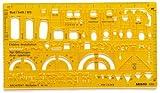 Aristo Werkplanschablone Architekten (1:50, 225 x 125 mm, 1,2 mm) transparent gelb