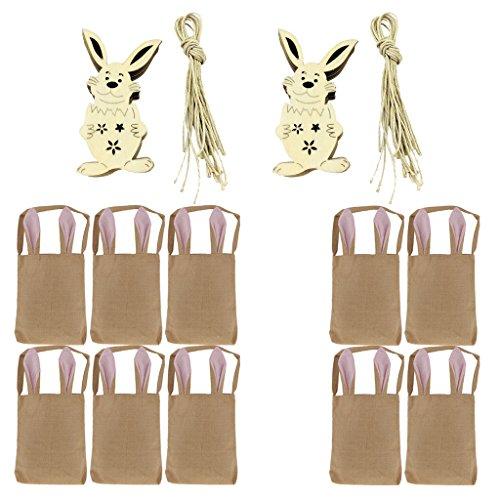 Sharplace 1 Set Osterhase Tasche Korb Tote Handtasche Kaninchen Ohren Muster Geschenktüte mit Holzverschönerung (Korb Handtasche Tote)