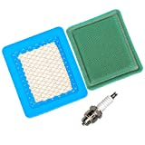 OuyFilters 491588 Air Filter with 271933 Pre Filter and Spark Plug for Briggs & Stratton 625e 675ex Series and Quantum 3.5-6.75 gross HP Push Mower