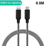 QGhappy USB Tipo C a Cable Lightning(0.5M), Durable Nylon,Power Delivery (PD) USB-C to Lightning Cable de carga rápida para iPhone X, iPhone 8, 8 Plus(Non supporta IOS 11.3)