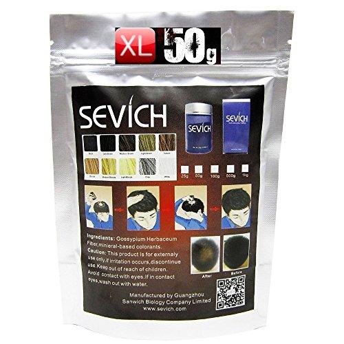 SEVICH~XL HAIR FIBERS~50g PREMIUM-DELUXE~XL REFILL SCHÜTTHAAR NACHFÜLLBEUTEL !! verschiede Farben !! STREUHAAR~BEI HAARAUSFALL (Schwarz (Black))