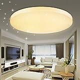 VINGO® 60W LED Deckenlampe LED Deckenstrahler Warmweiß Rund Wandleuchte Wohnzimmerlampe Modern Beleuchtung Sternenhimmel Sternen Himmel IP44 Geeignet für Wohnzimmer Schlafzimmer Energiesparende Möbeleinbauleuchte