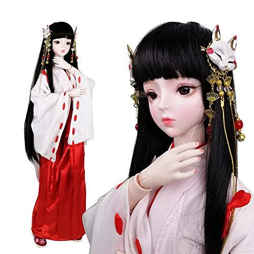 EVA BJD Chica Brujas Japonesa 1/3 BJD Muñeca 24.4in 62 Cm Kimono Muñecas Articuladas + Accesorio Completo Ji Gong Muñecas Femeninas Decoración Inuyasha